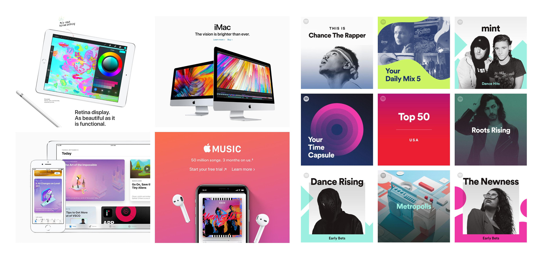 Digital touchpoints from Apple and Spotify (2019)